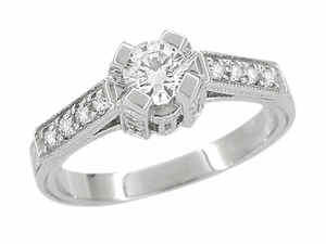 Art Deco 1/2 Carat Diamond Engraved Scrolls Castle Engagement Ring in Platinum - Item R240PD - Image 1