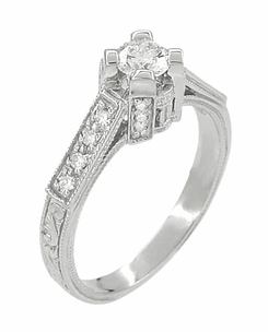 Art Deco 1/2 Carat Diamond Engraved Scrolls Castle Engagement Ring in Platinum - Item R240PD - Image 2