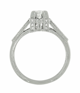 Art Deco 1/2 Carat Diamond Engraved Scrolls Castle Engagement Ring in Platinum - Click to enlarge