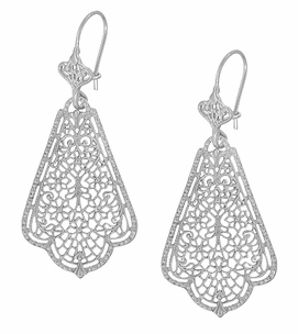Edwardian Scalloped Leaf Dangling Sterling Silver Filigree Earrings  - Item E169W - Image 2