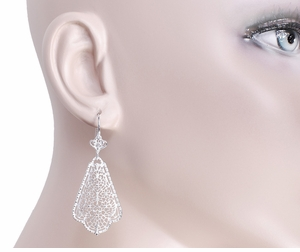 Edwardian Scalloped Leaf Dangling Sterling Silver Filigree Earrings  - Click to enlarge