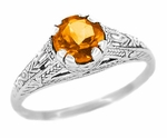Art Deco Citrine Filigree Engraved Ring in Sterling Silver