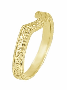 Art Deco Scrolls Engraved Contoured Wedding Band in 18 Karat Yellow Gold - Item WR199Y - Image 1