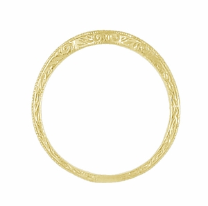Art Deco Scrolls Engraved Contoured Wedding Band in 18 Karat Yellow Gold - Click to enlarge
