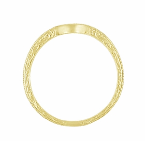 Art Deco Scrolls Engraved Contoured Wedding Band in 18 Karat Yellow Gold - Item WR199Y - Image 4