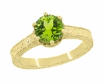 Art Deco Crown Filigree Scrolls 1.25 Carat Peridot Engagement Ring in 18 Karat Yellow Gold