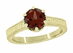 Art Deco Crown Filigree Scrolls 1.5 Carat Almandine Garnet Engagement Ring in 18 Karat Yellow Gold