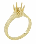18 Karat Yellow Gold 1 Carat Crown Engagement Ring Setting - Art Deco Engraved Scrolls - 6.5mm