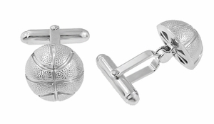 Basketball Cufflinks in Sterling Silver - Item SCL204 - Image 1