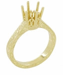 Art Deco 1.75 - 2.25 Carat Crown Filigree Scrolls Engagement Ring Setting in 18 Karat Yellow Gold