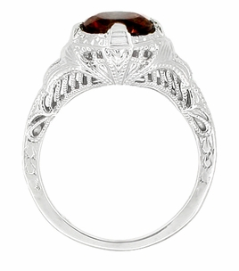 Art Deco Almandite Garnet Engraved Filigree Ring in Sterling Silver - Click to enlarge