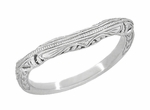 Art Deco Filigree and Wheat Engraved Curved Wedding Ring in Sterling Silver