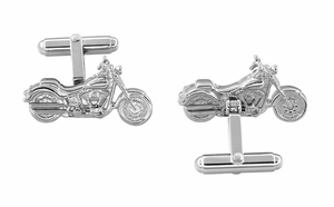 Cruiser Motorcycle Cufflinks in Sterling Silver - Item SCL103 - Image 1