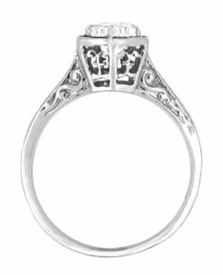 Art Deco Engraved Scroll Diamond Filigree Engagement Ring in 14 Karat White Gold - Item R180W33D - Image 1
