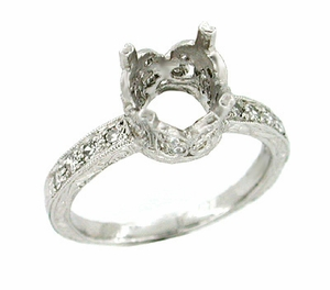 Art Deco 1 Carat Platinum and Diamond Filigree Engagement Ring - Click to enlarge