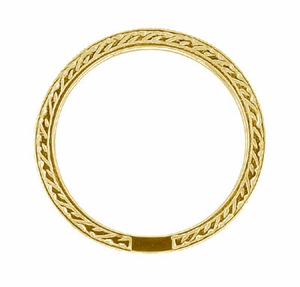 Art Deco Engraved Wheat Diamond Eternity Wedding Band in 18 Karat Yellow Gold - Click to enlarge