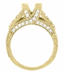X & O Kisses 3/4 Carat Princess Cut Diamond Engagement Ring Setting in 18 Karat Yellow Gold
