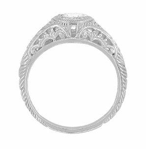 Art Deco Engraved Filigree White Sapphire Engagement Ring in Platinum - Item R138PWS - Image 2