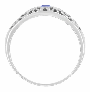 Art Deco Filigree Blue Sapphire Ring Bezel Set in 14 Karat White Gold - Click to enlarge