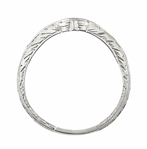 Art Deco Engraved Wheat Curved Diamond Wedding Band in 14 Karat White Gold - Click to enlarge