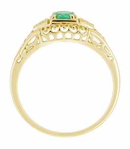 Art Deco Filigree Emerald and Diamonds Engagement Ring in 14 Karat Yellow Gold - Click to enlarge