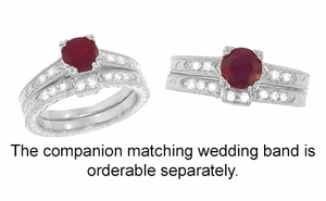 Art Deco Ruby and Diamonds Engraved Engagement Ring in 18 Karat White Gold, Vintage Fishtail Ruby Birthstone Engagement Ring - Click to enlarge