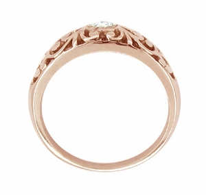 Filigree White Sapphire Ring in 14 Karat Rose Gold - Click to enlarge