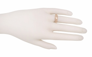 Filigree White Sapphire Ring in 14 Karat Rose Gold - Item R197RPWS - Image 2