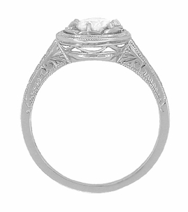 1/2 Carat Diamond Art Deco Solitaire Halo Engagement Ring in 18 Karat White Gold - Item R306W50 - Image 1
