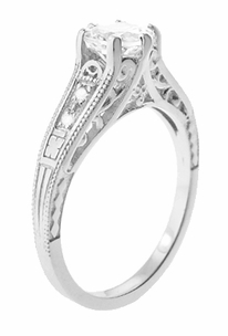 White Sapphire Filigree Engagement Ring in 14 Karat White Gold - Click to enlarge
