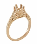 Art Deco 3/4 to 1 Carat Crown of Leaves Filigree Engagement Ring Setting in 14K Rose Gold | 6.0 - 6.5mm Round