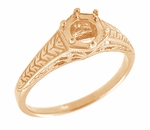 Art Deco Scrolls and Wheat Filigree Engagement Ring Setting for a 3/4 Carat Diamond in 14 Karat Rose ( Pink ) Gold