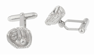 Baseball and Baseball Glove Cufflinks in Sterling Silver - Item SCL200 - Image 1