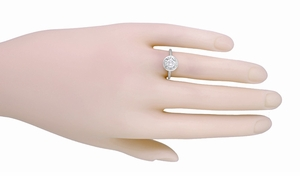 1/2 Carat Diamond Art Deco Solitaire Halo Engagement Ring in 18K White Gold | 1930's Vintage Replica  - Item R306W50 - Image 2