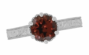 Art Deco Crown Filigree Scrolls 1.5 Carat Almandine Garnet Engagement Ring in Platinum - Click to enlarge