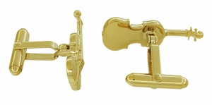 Violin Cufflinks in Sterling Silver with Yellow Gold Finish - Item SCL247Y - Image 1