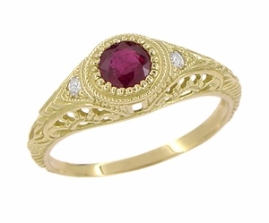 Art Deco Engraved Ruby and Diamond Filigree Engagement Ring in 18 Karat Yellow Gold - Item R189Y - Image 1