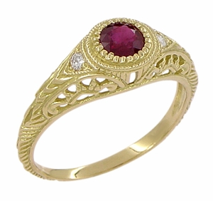 Art Deco Engraved Ruby and Diamond Filigree Engagement Ring in 18 Karat Yellow Gold - Click to enlarge