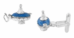 Magic Genie Lamp Movable Cufflinks in Sterling Silver with Blue Enamel - Click to enlarge