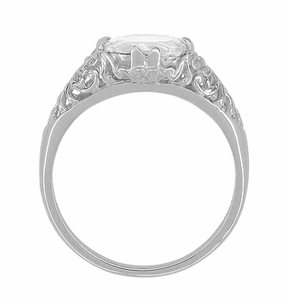 White Sapphire Filigree Edwardian Engagement Ring in 14 Karat White Gold - Click to enlarge