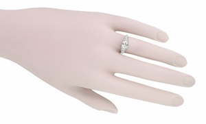 White Sapphire Filigree Edwardian Engagement Ring in 14 Karat White Gold - Item R799WWS - Image 3