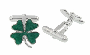 Lucky Four Leaf Clover Shamrock Enameled Cufflinks in Sterling Silver - Click to enlarge