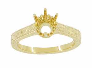 Art Deco 1 Carat Crown Filigree Scrolls Engagement Ring Setting in 18 Karat Yellow Gold - Click to enlarge