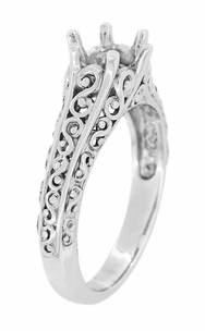 Filigree Flowing  Scrolls Edwardian Engagement Ring Setting for a 3/4 Carat Diamond in 14 Karat White Gold - Item R1196W - Image 2