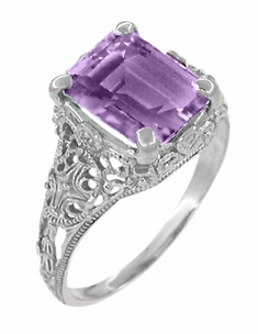 Edwardian Filigree Emerald Cut Amethyst Ring in Sterling Silver - Item SSR618AM - Image 1