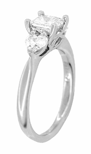Ritani 1 Carat Princess and Heart Shaped Diamonds 3 Stone Engagement Ring in Platinum - 1.60 Carats Total Diamond Weight - Item R1168 - Image 1