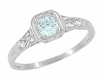 Art Deco Filigree Aquamarine and Diamond Engagement Ring in Platinum
