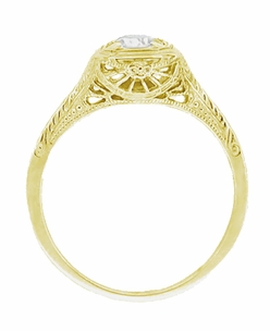 Filigree Scrolls 1/3 Carat Diamond Art Deco Engraved Engagement Ring in 14 Karat Yellow Gold - Item R183Y50D - Image 1