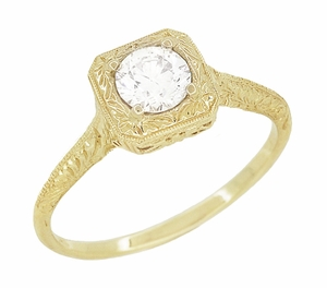 Filigree Scrolls 1/3 Carat Diamond Art Deco Engraved Engagement Ring in 14 Karat Yellow Gold - Click to enlarge