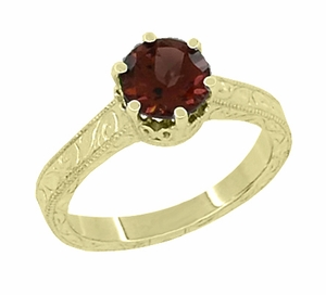 Art Deco Crown Filigree Scrolls 1.5 Carat Almandine Garnet Engagement Ring in 18 Karat Yellow Gold - Click to enlarge